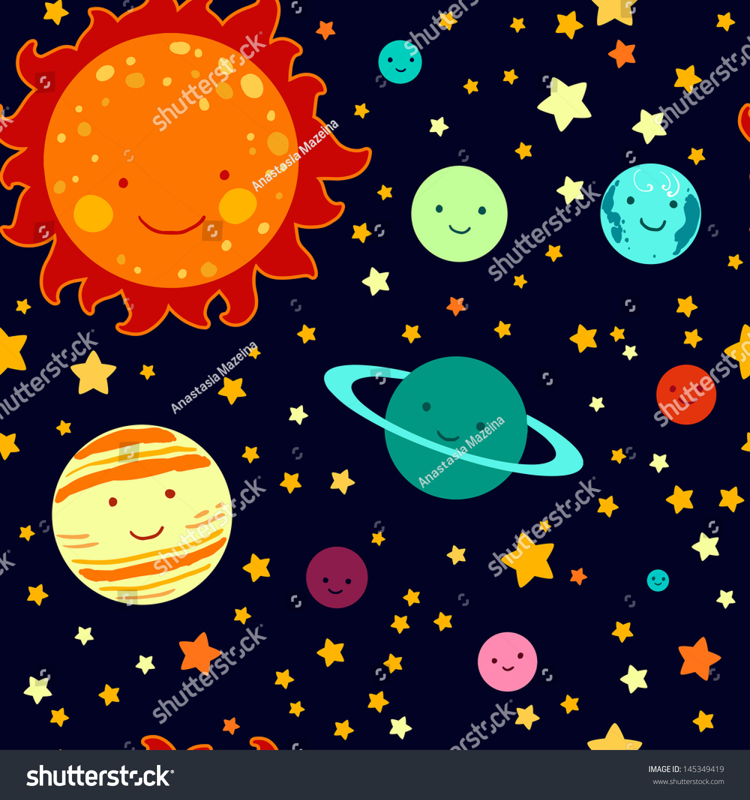Kids style drawing solar system seamless stock vector for Solar for kids