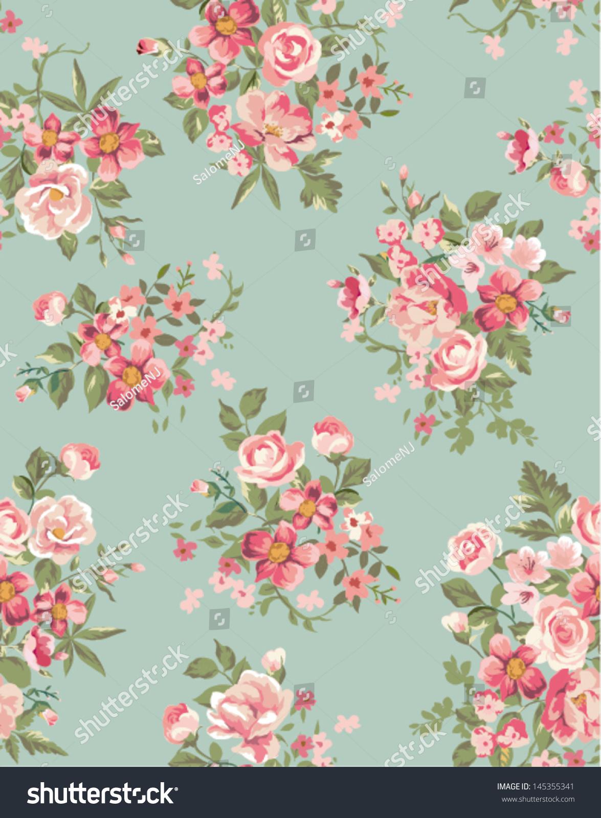 Vintage Floral Flower Seamless Pattern Background Stock Vector