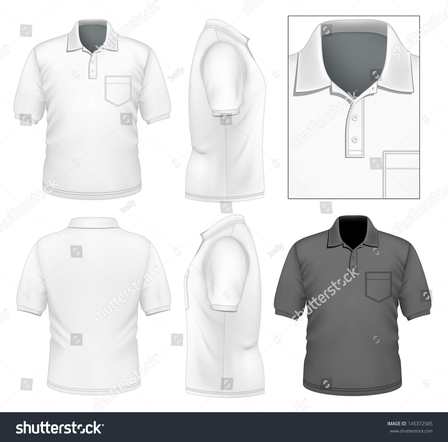 Design t shirt with front pocket - Photo Realistic Vector Illustration Men S Polo Shirt Design Template Front View