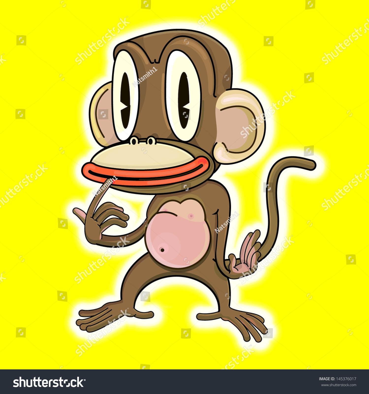 vector drawing cartoon monkey easy edit stock vector 145376017