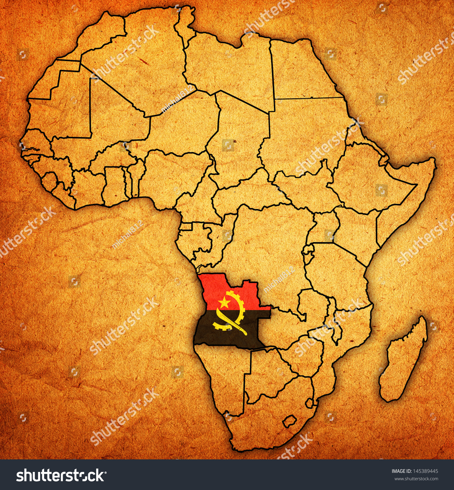 Angola On Africa Map.Angola On Actual Vintage Political Map Stock Illustration Royalty
