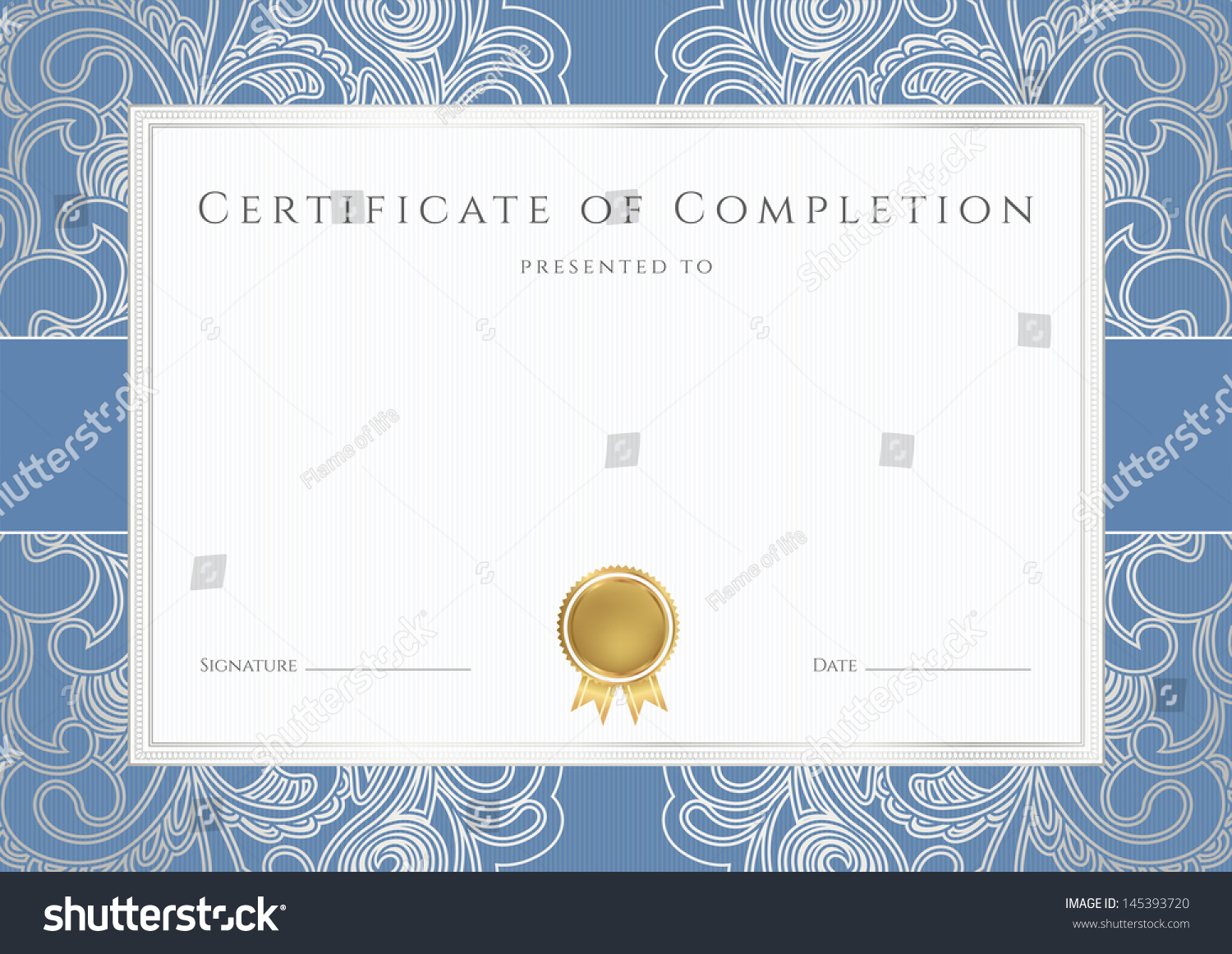 Certificate completion template sample background floral stock certificate of completion template or sample background with floral silver scroll pattern watermark 1betcityfo Image collections