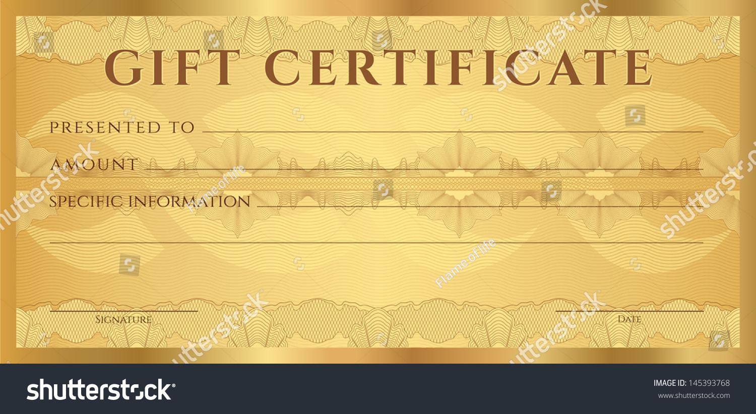 Gift Coupon Template | Gift Certificate Voucher Coupon Template Guilloche Stock