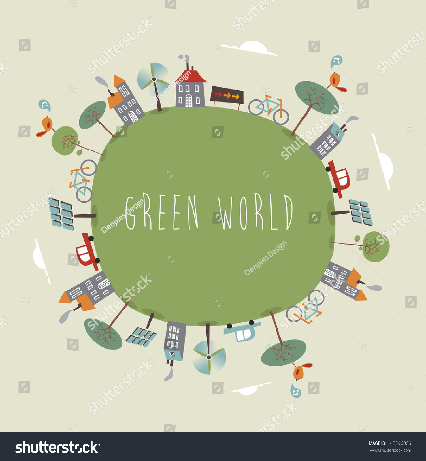 Trendy Colorful Go Green World Vector 스톡 벡터 사용료 없음