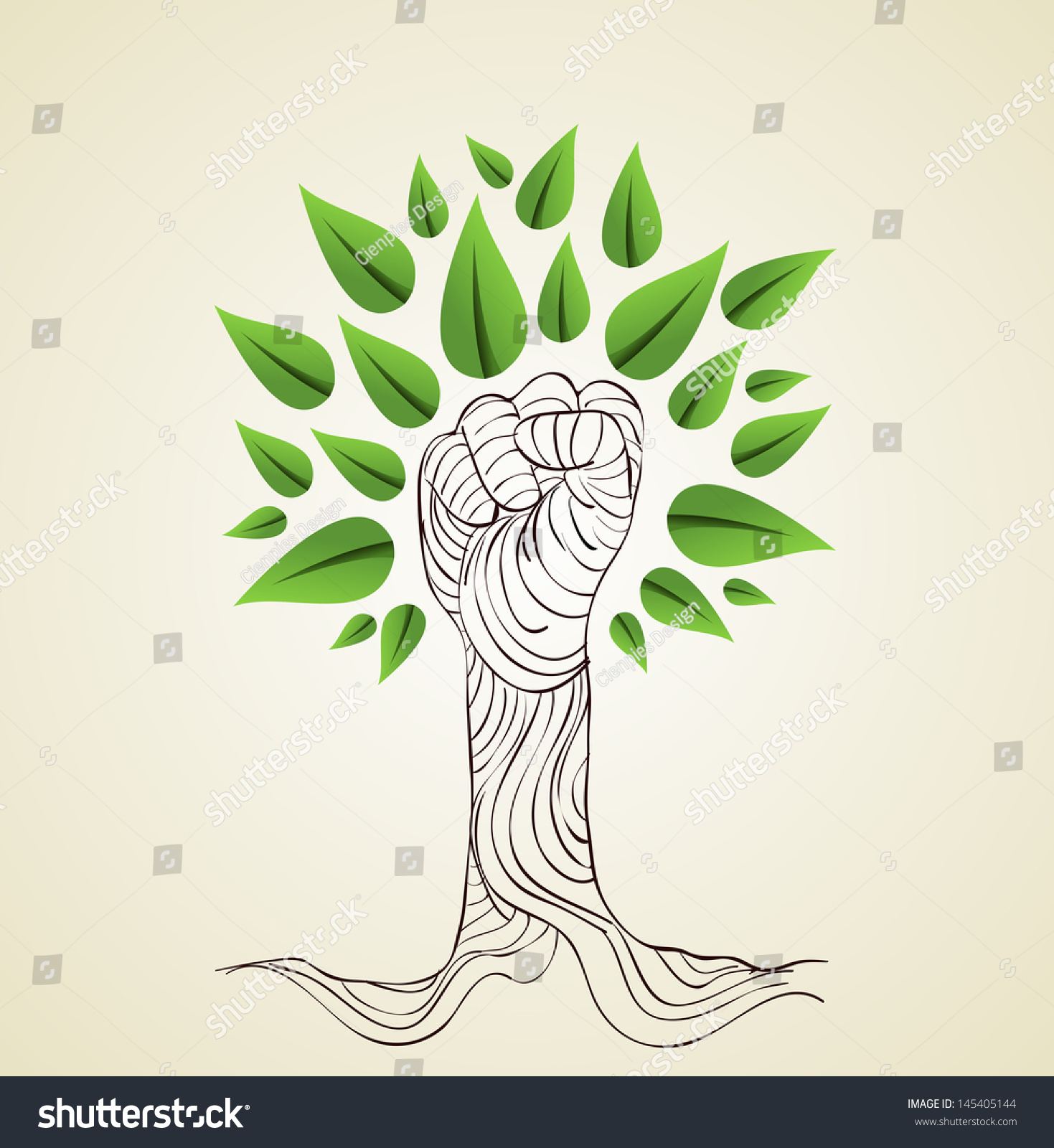 Hand Draw Style Save Earth Tree Stock Vector 145405144 - Shutterstock
