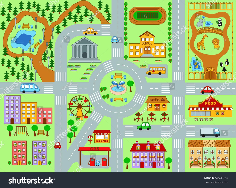 City Map Kids Stock Vector 145411636 Shutterstock