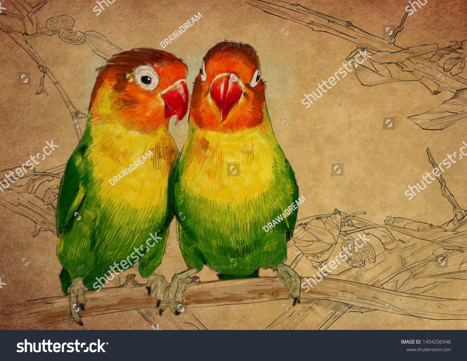 Lovebirds Colour Pencil Drawing On Brown Stock Illustration 1454206946