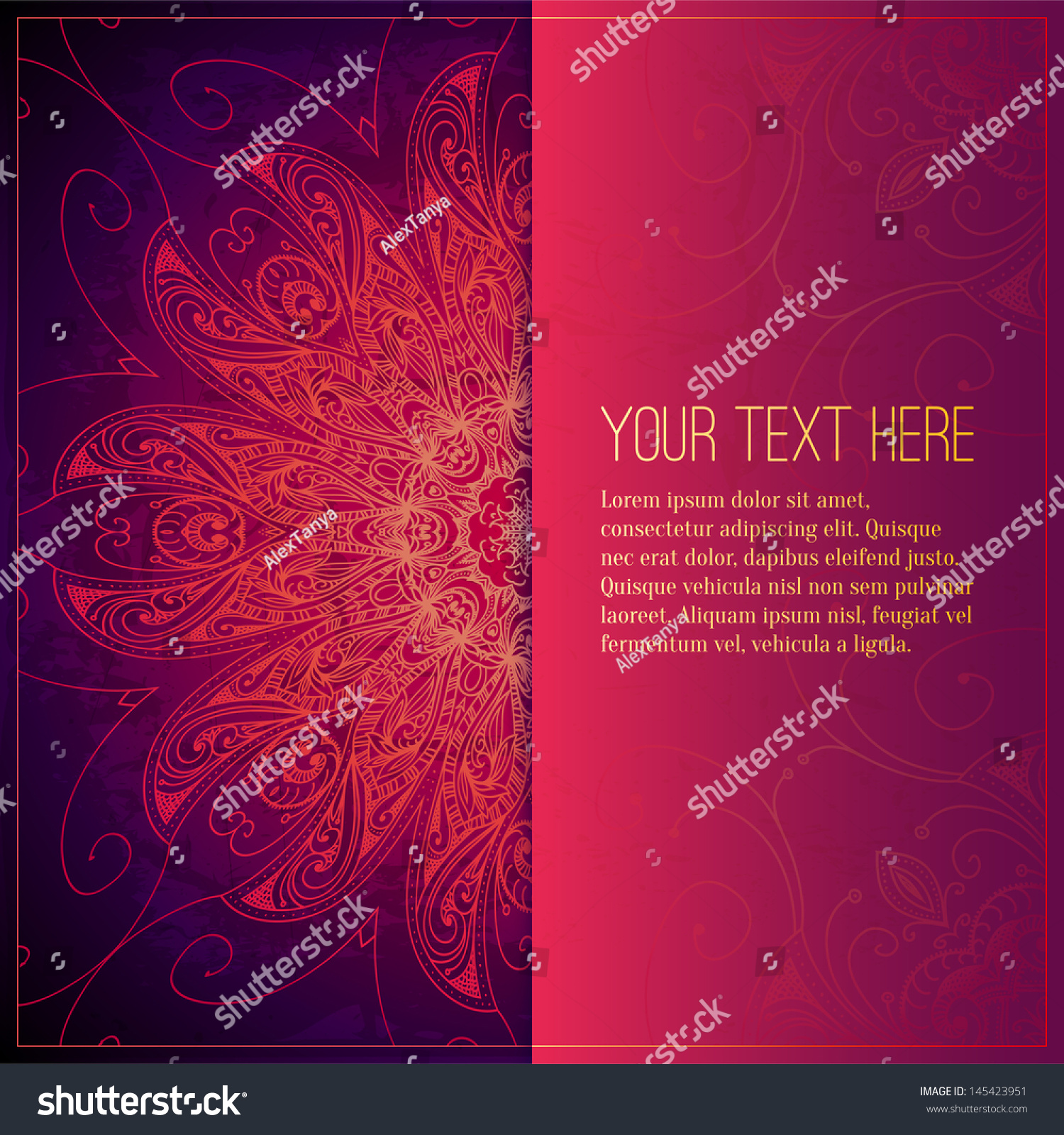 Red Book Cover Pattern : Abstract vector circle floral ornament lace stock