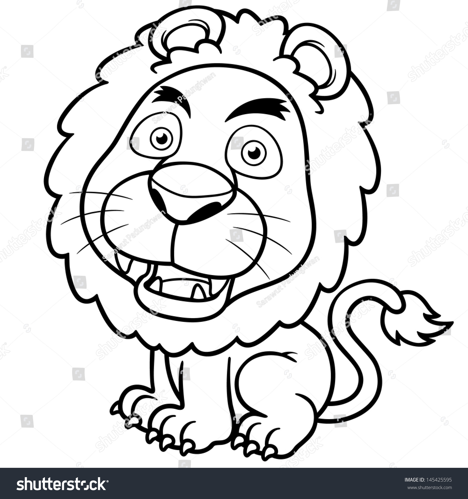 vector illustration lion cartoon coloring book stock vector - Cartoon Colouring In Pictures