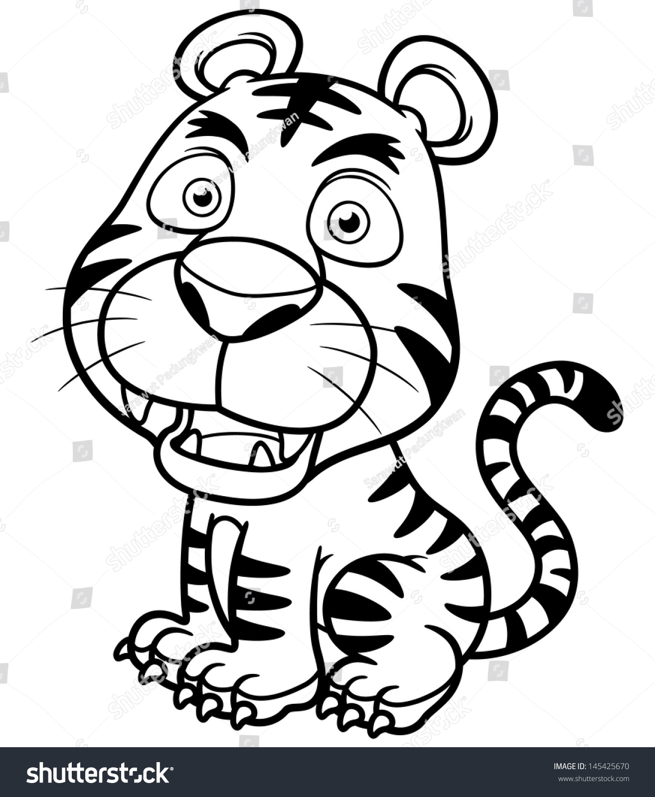 Vector Illustration Tiger Cartoon Coloring Book Stock Vector