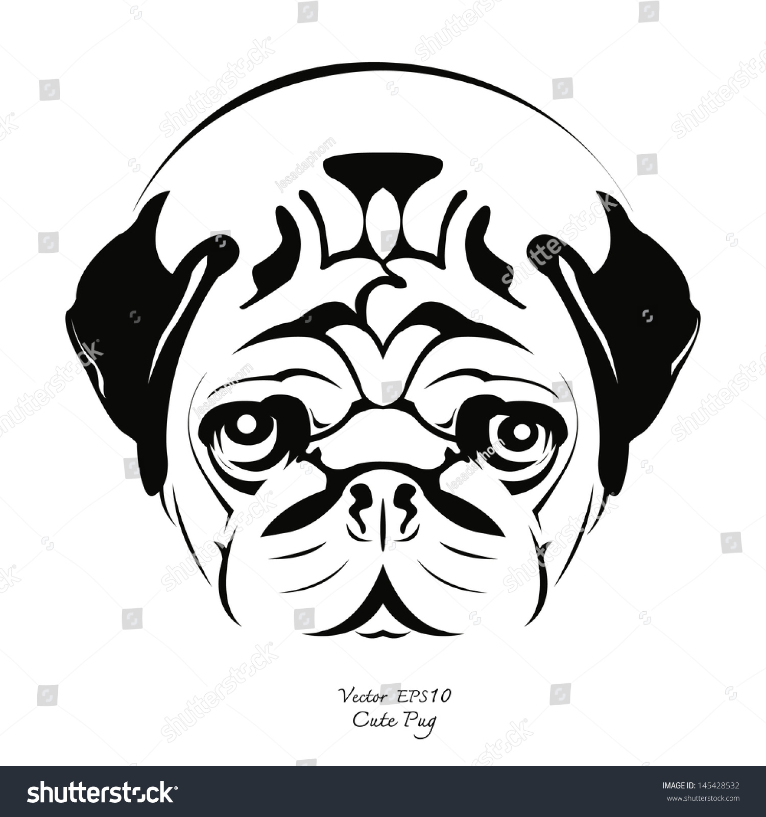 Pug Face Line Drawing : Black white drawing pug dog vector stock