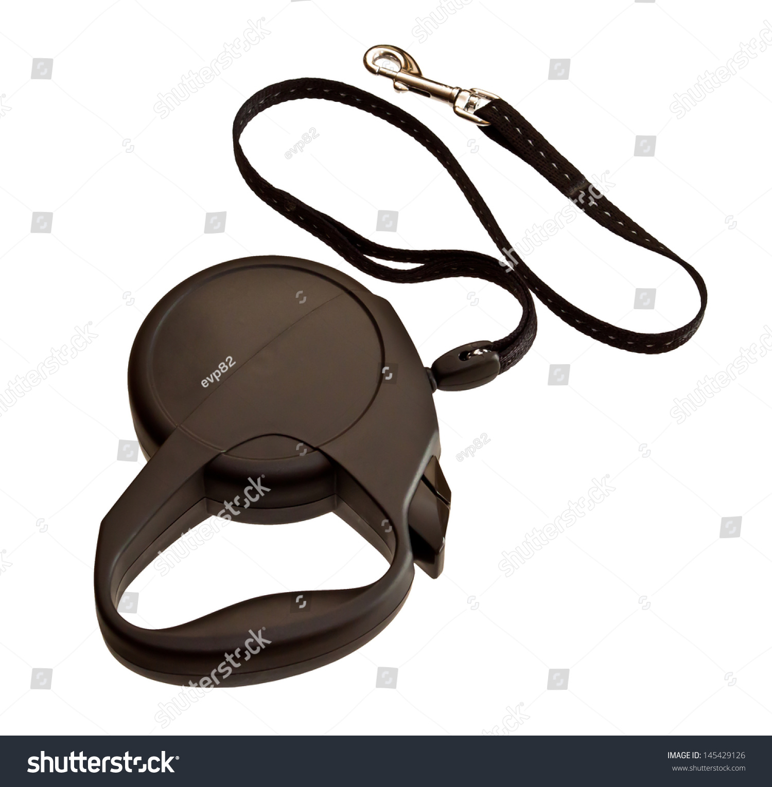Retractable Leash Dog Isolated On White Stock Photo