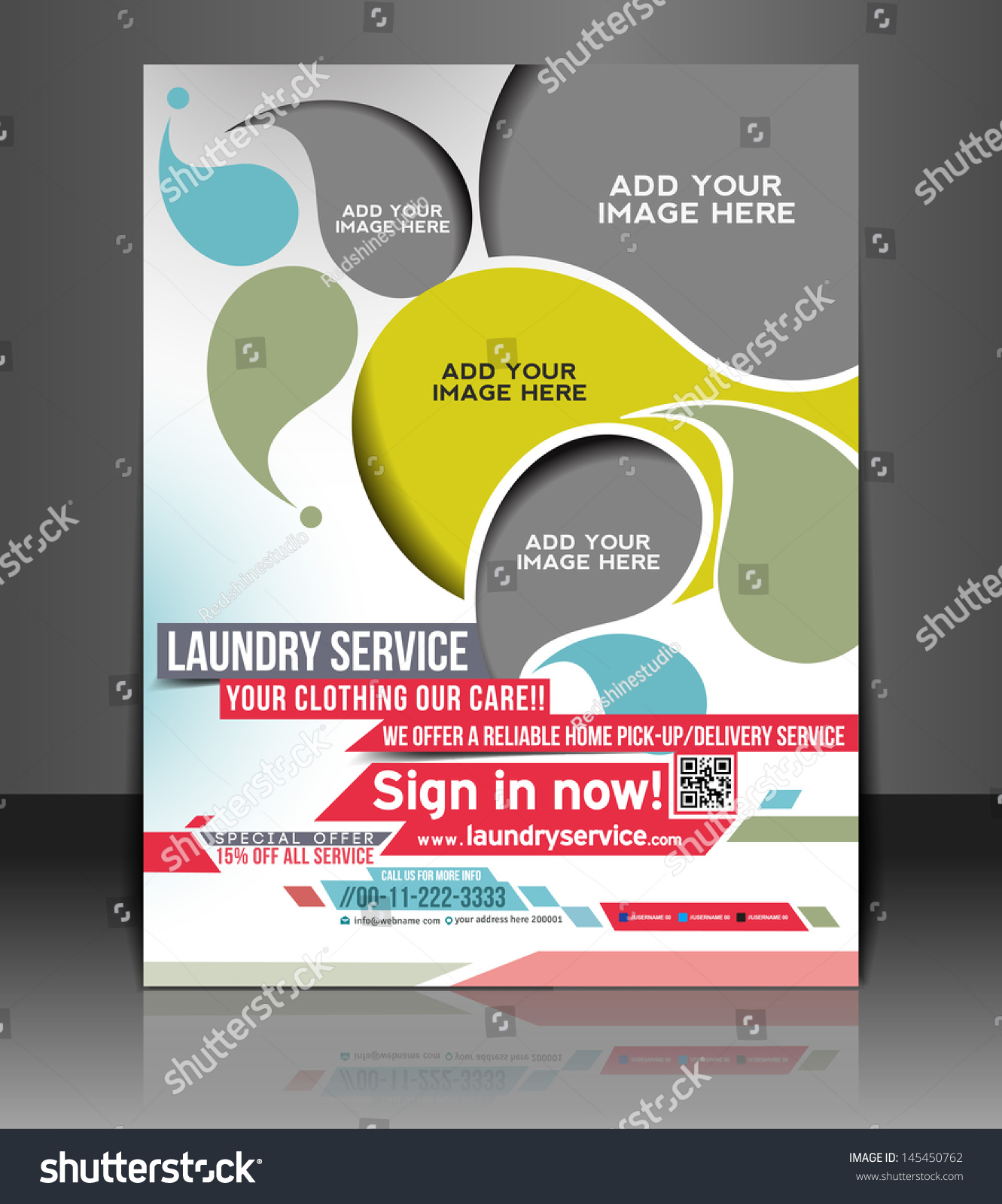 Vector laundry service flyer magazine cover stock vector 145450762 vector laundry service flyer magazine cover poster template pronofoot35fo Image collections