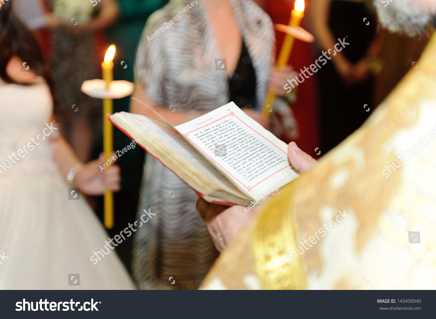 Priest Holding Bible During Wedding Ceremony