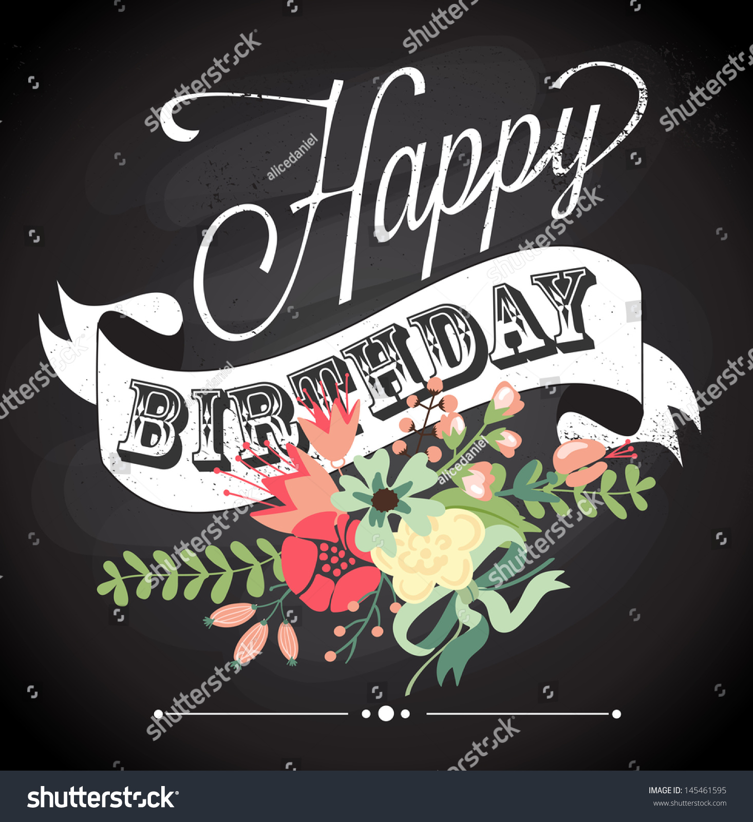 Birthday Card Chalkboard Calligraphy Style Cute Stock Vector