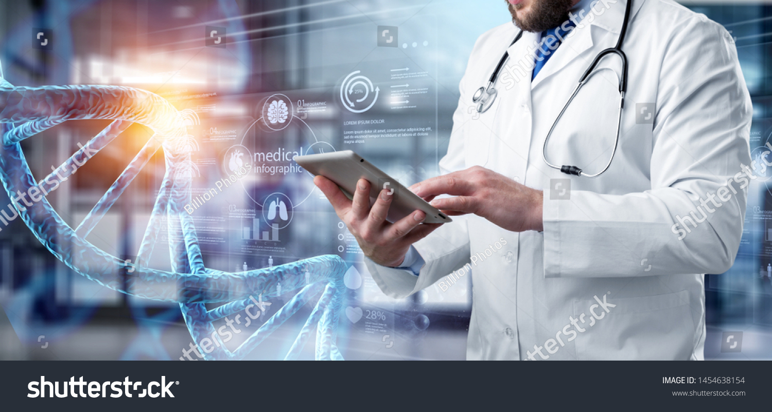 Abstract luminous DNA molecule. Doctor using tablet and check with analysis chromosome DNA genetic of human on virtual interface. Medicine. Medical science and biotechnology.          - Image #1454638154