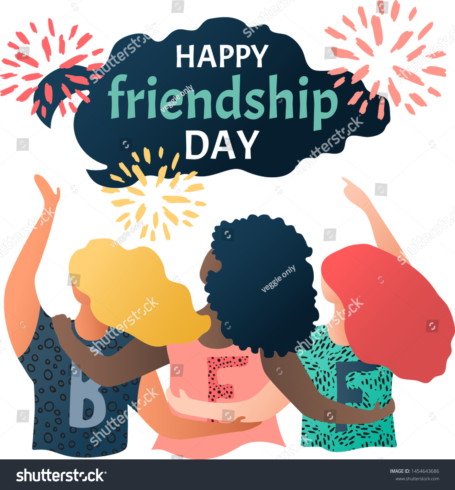 Happy Friendship Day Greeting Card Multinational Stock Vector Royalty Free 1454643686