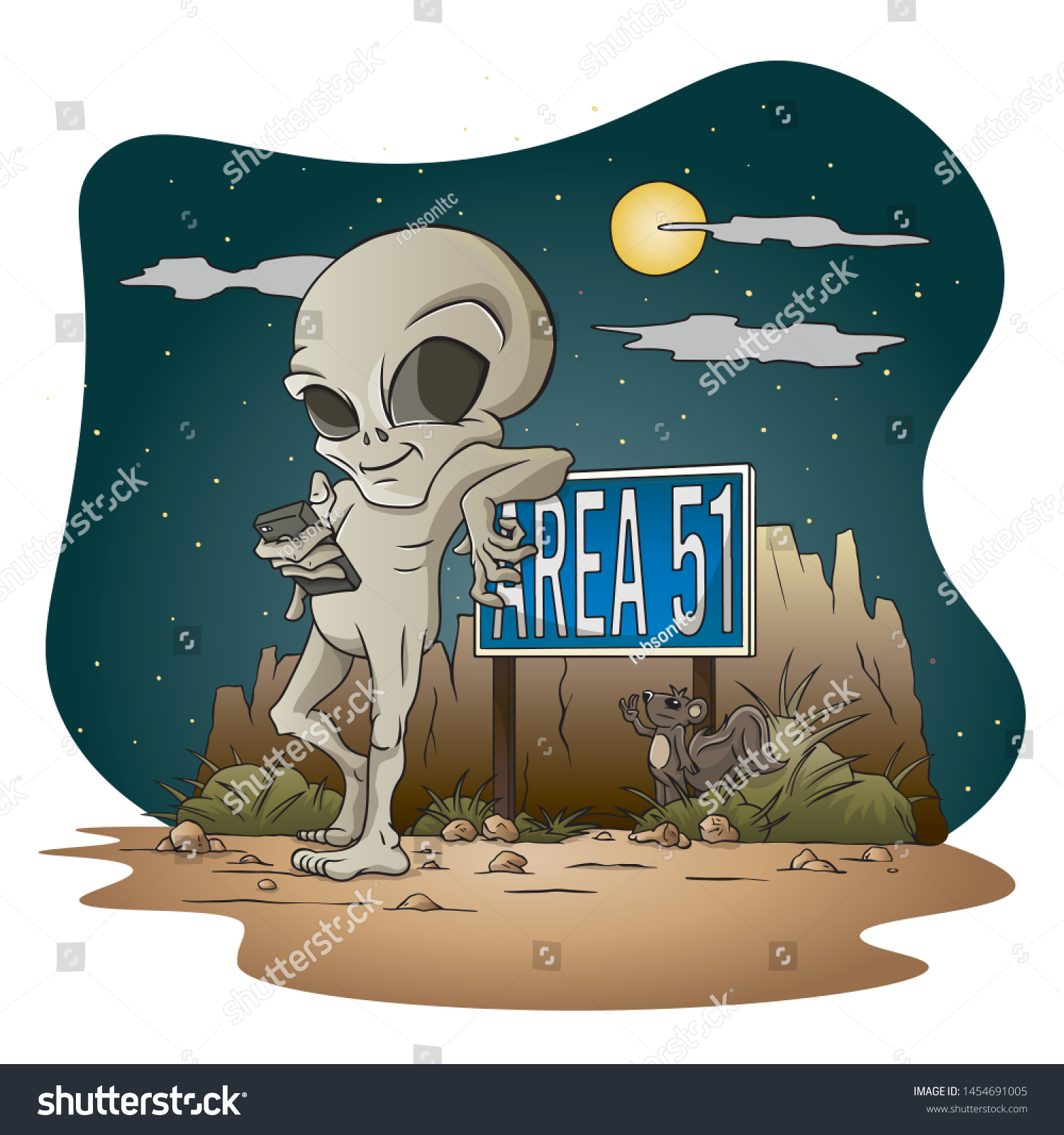 Grey Alien leaning on Area 51 sign #1454691005