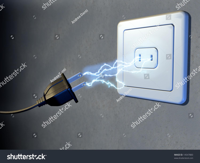 Electrical Plug Outlet Generating Electricity Sparks Stock And Digital Illustration