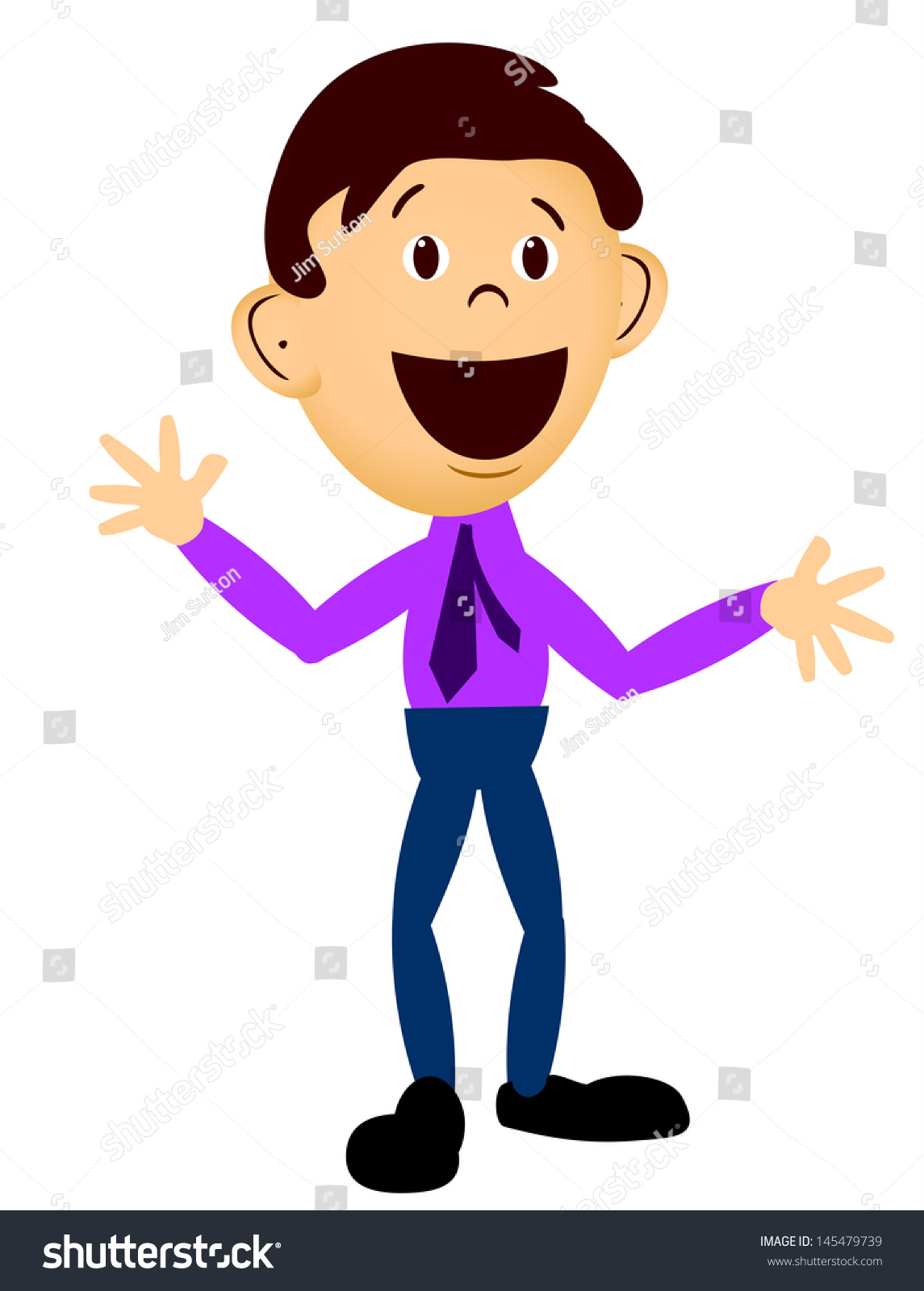 Business Man In Purple Shirt And Tie Expressing Happy