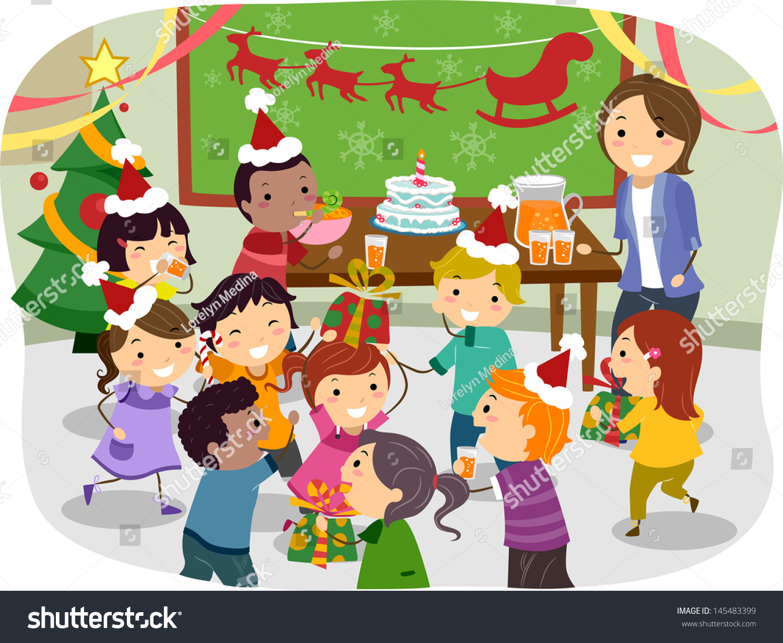 Illustration Stickman Kids Having Christmas Party Stock Vector ...