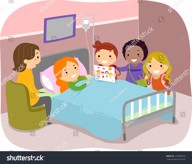 Illustration Stickman Kids Paying Visit Friend Stock Vector ...