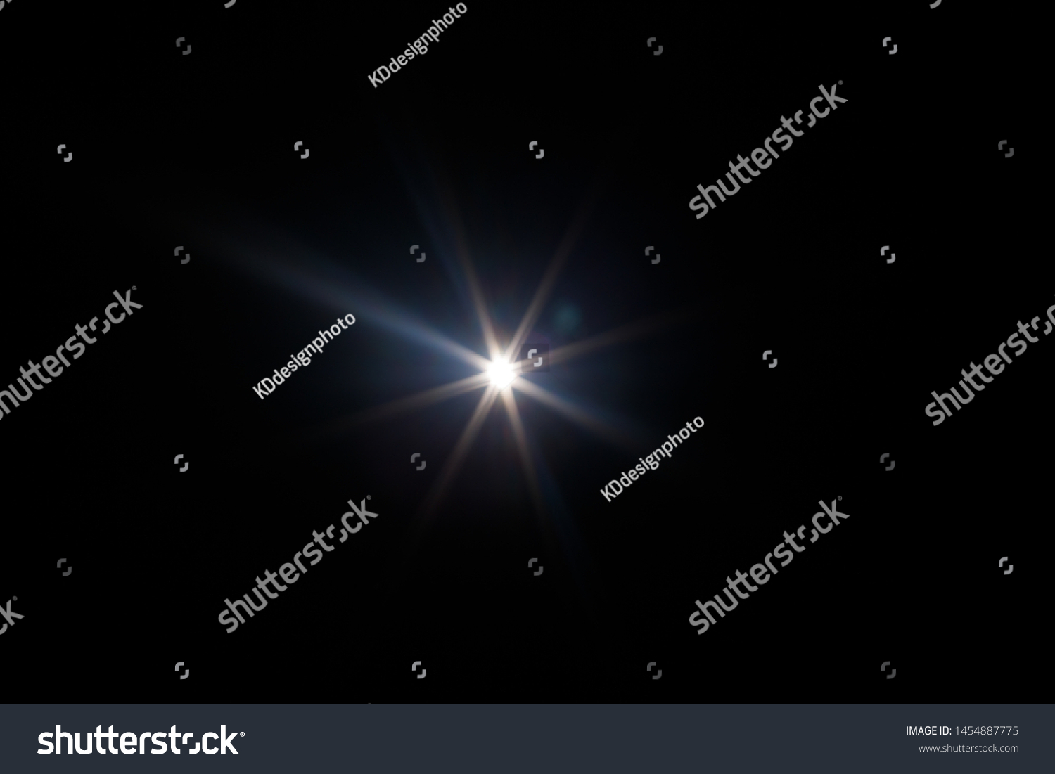 Lens Flare. Light over black background. Easy to add overlay or screen filter over photos. Abstract sun burst with digital lens flare background. Gleams rounded and hexagonal shapes, rainbow halo. #1454887775