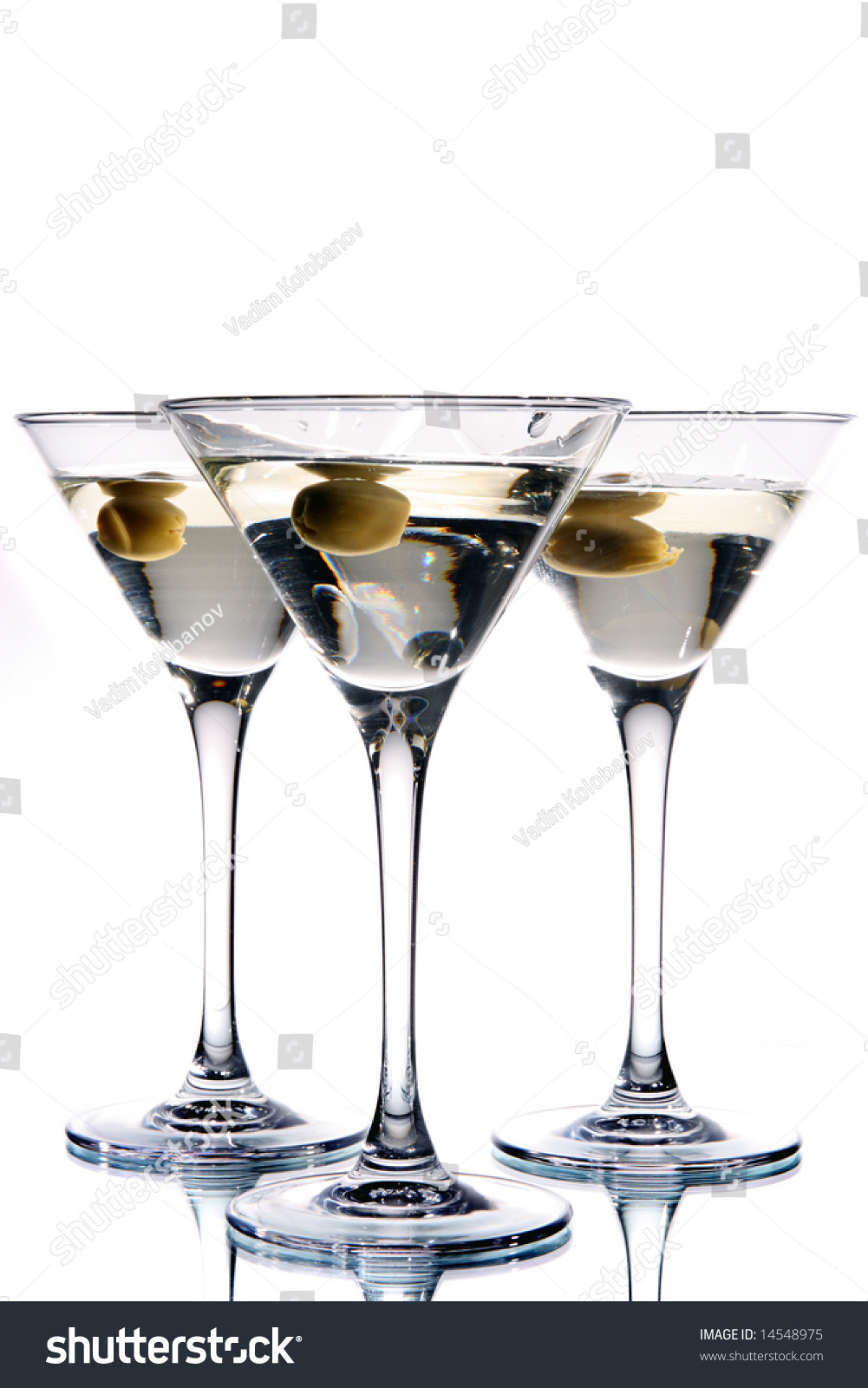 Martini Glass Olive Inside Stock Photo Edit Now 14548975