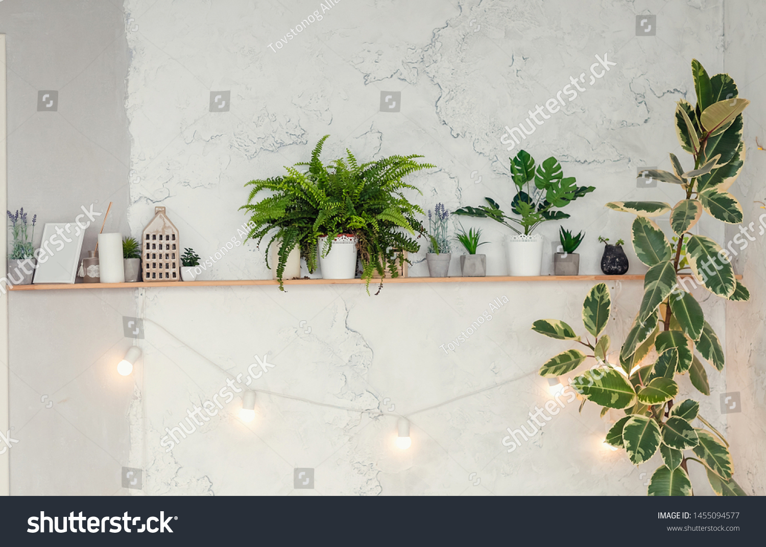 Shelf Above Bed On Background Brick Stock Photo Edit Now 1455094577