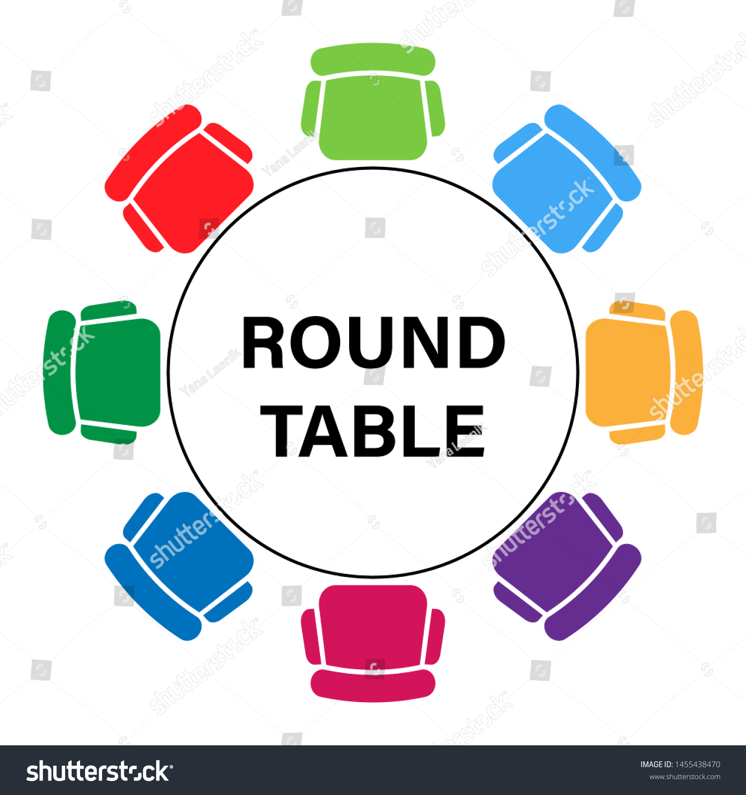 Vector Round Table Top View