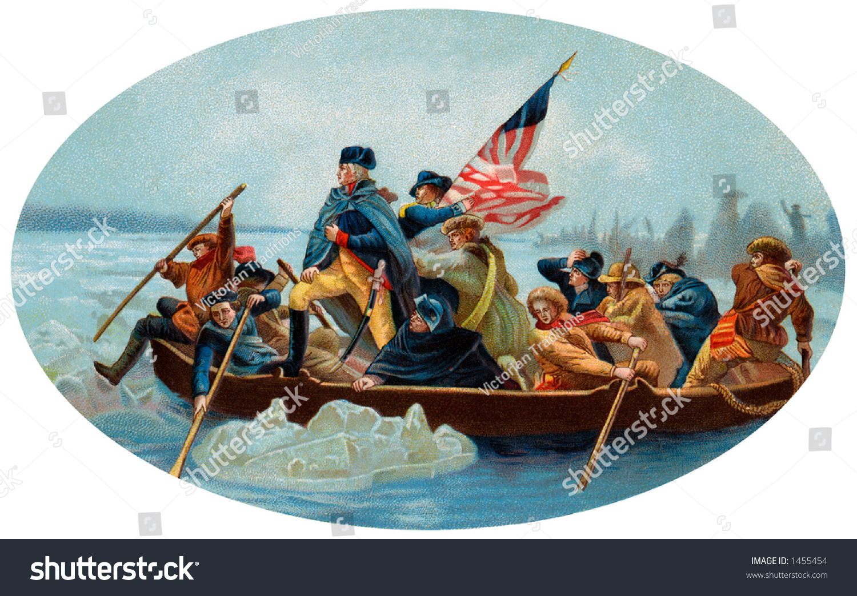 George Washington Crossing Delaware Oval 1908 Stock Photo 1455454 ...