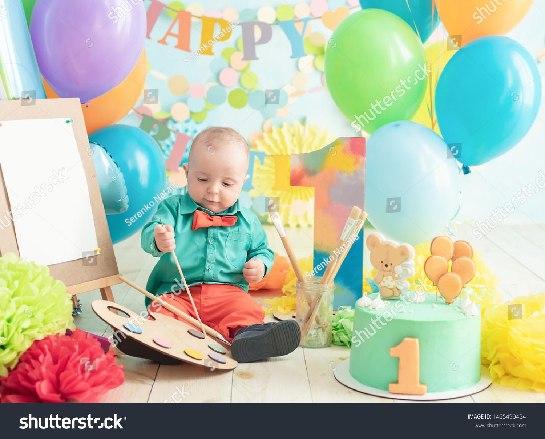 Enjoyable Decoration Boys First Birthday Smash Cake Stock Photo Edit Now Funny Birthday Cards Online Alyptdamsfinfo
