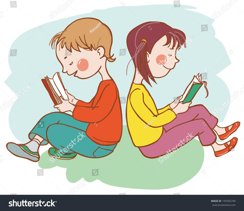 Back School Two Children Reading Books Stock Vector 145565749 ...