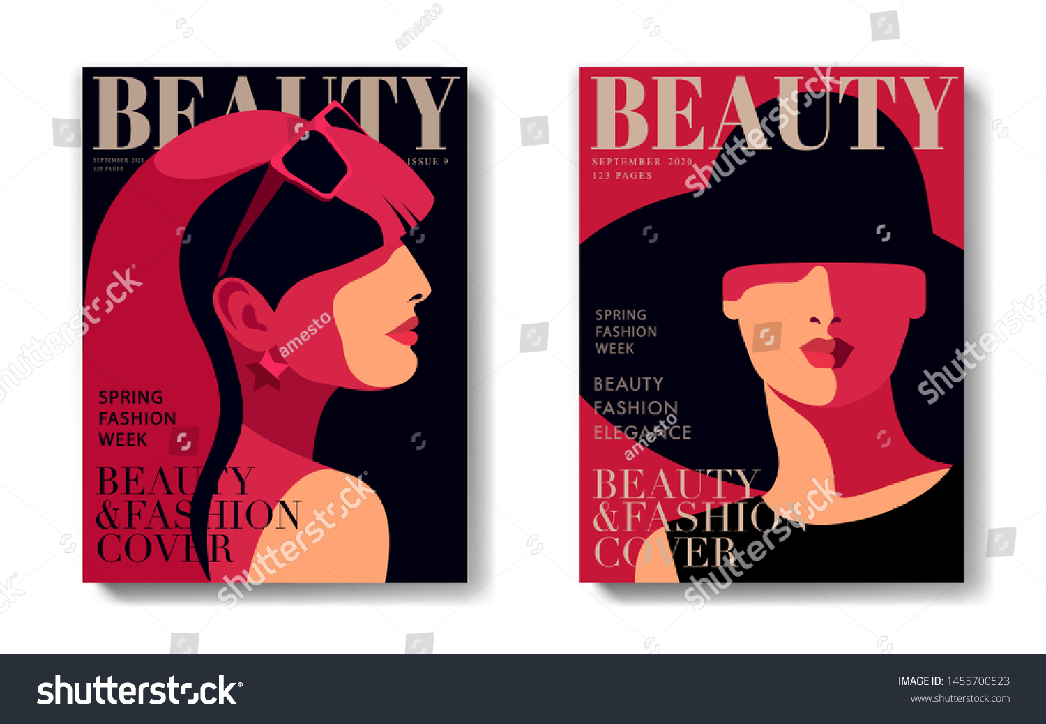 Two Fashion Magazine Cover Designs Abstract Stock Vector Royalty Free 1455700523
