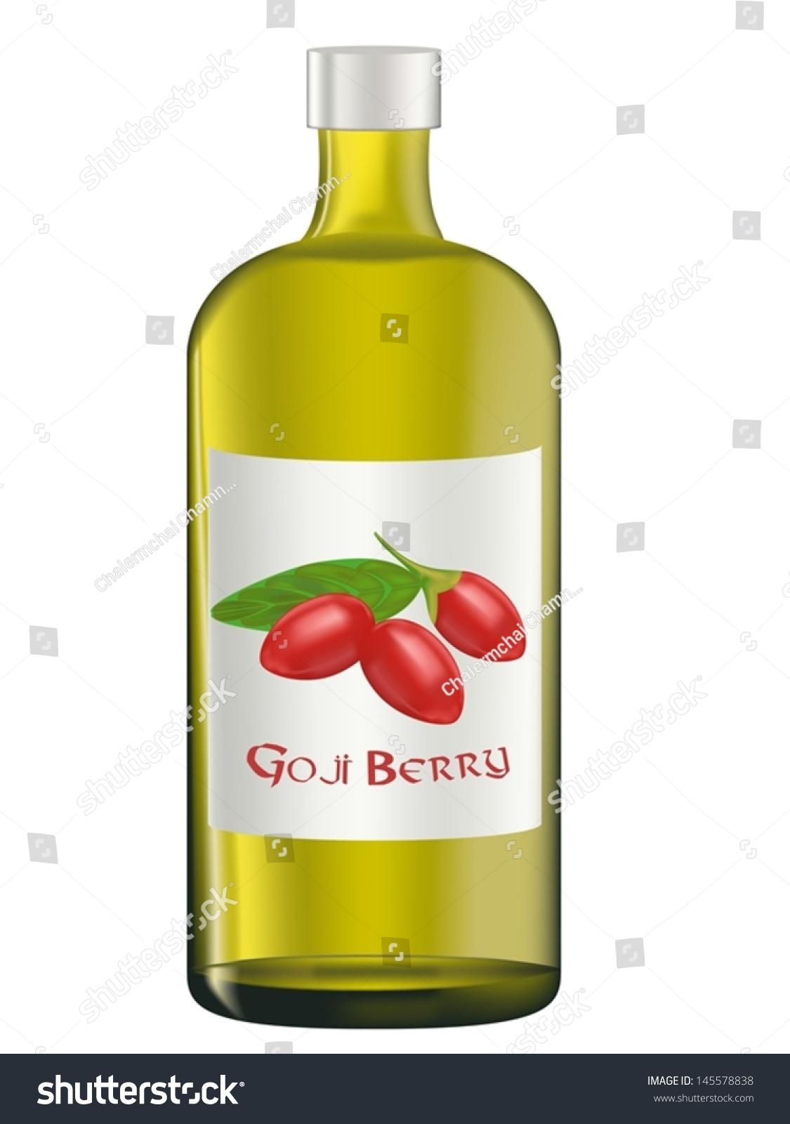 Bottles Goji Berry Juice Vector Illustration Stock Vector Royalty