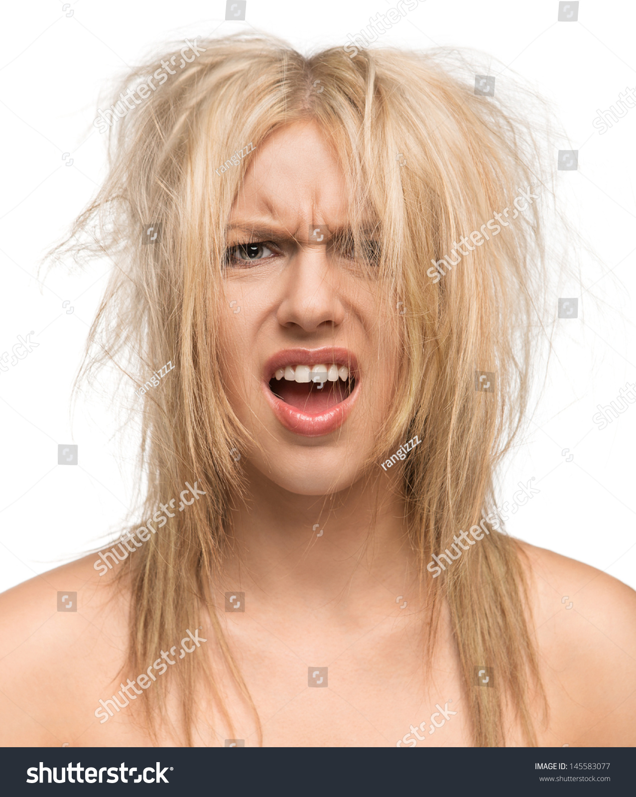 Bad Hair Day Portrait Beautiful Girl Stock Photo 145583077