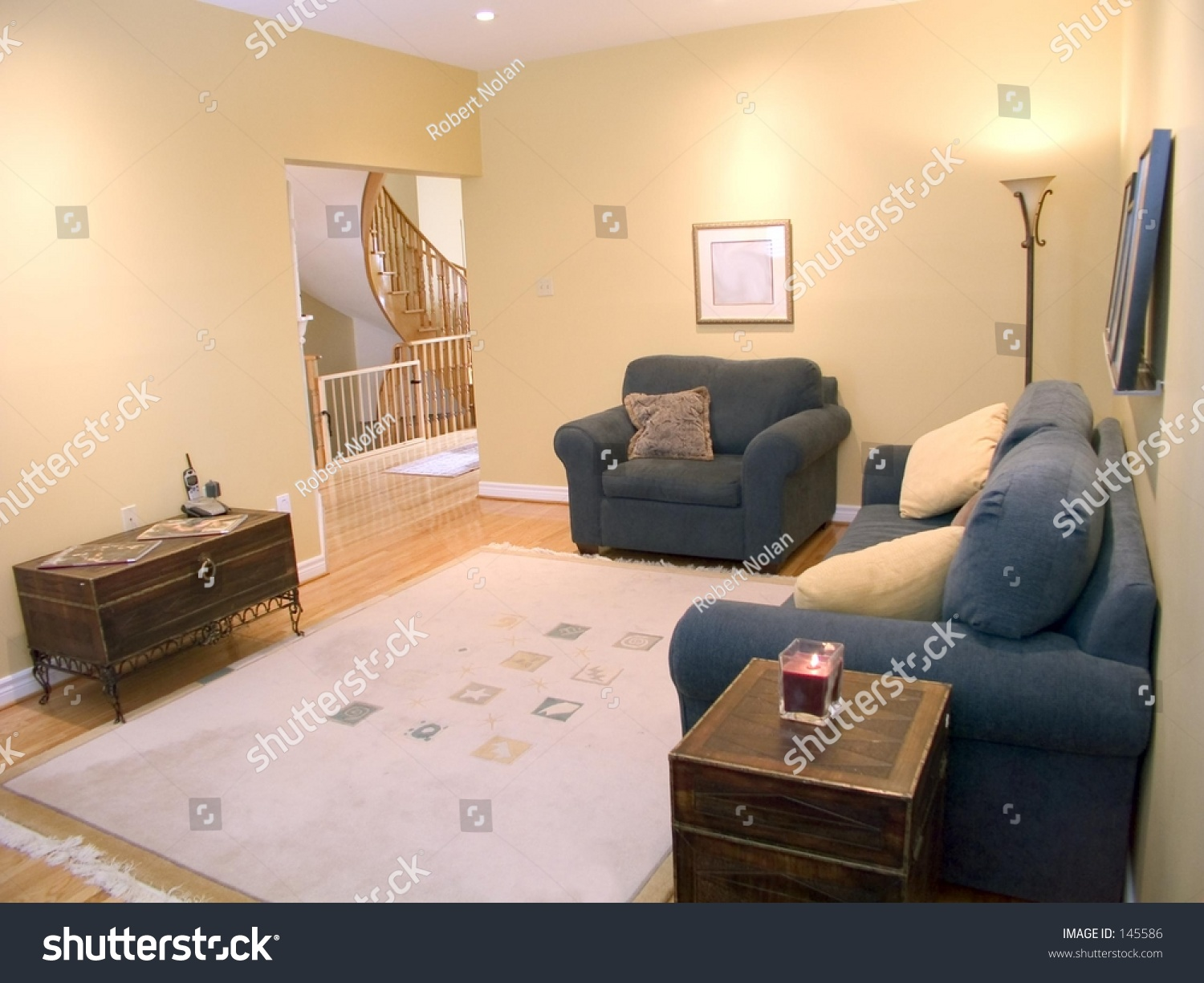 Picture of: Family Room Blue Sofa Loveseat Coffee Stock Photo Edit Now 145586