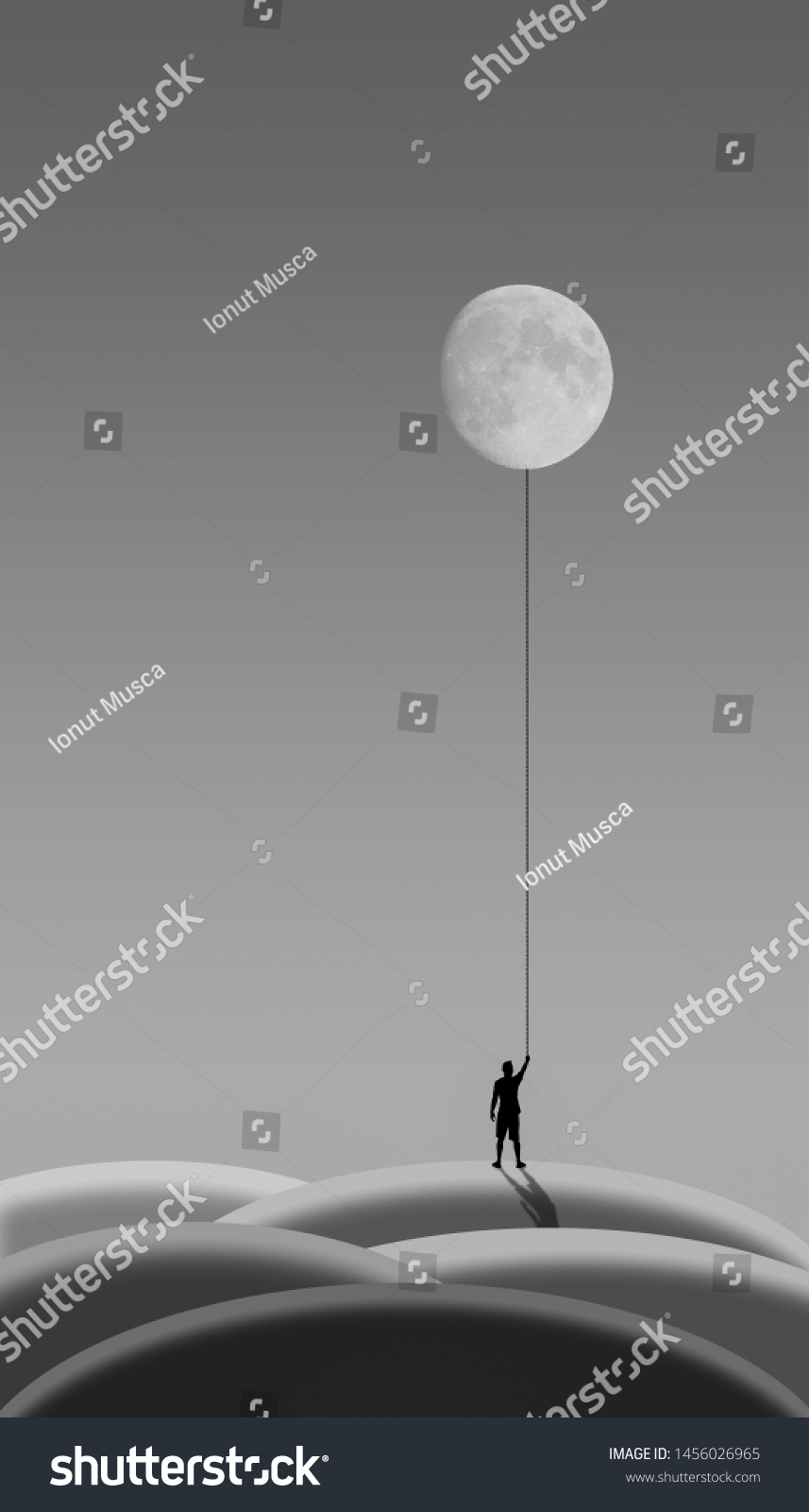 Silhouette Man Holding Moon Monochrome Illustration Stock