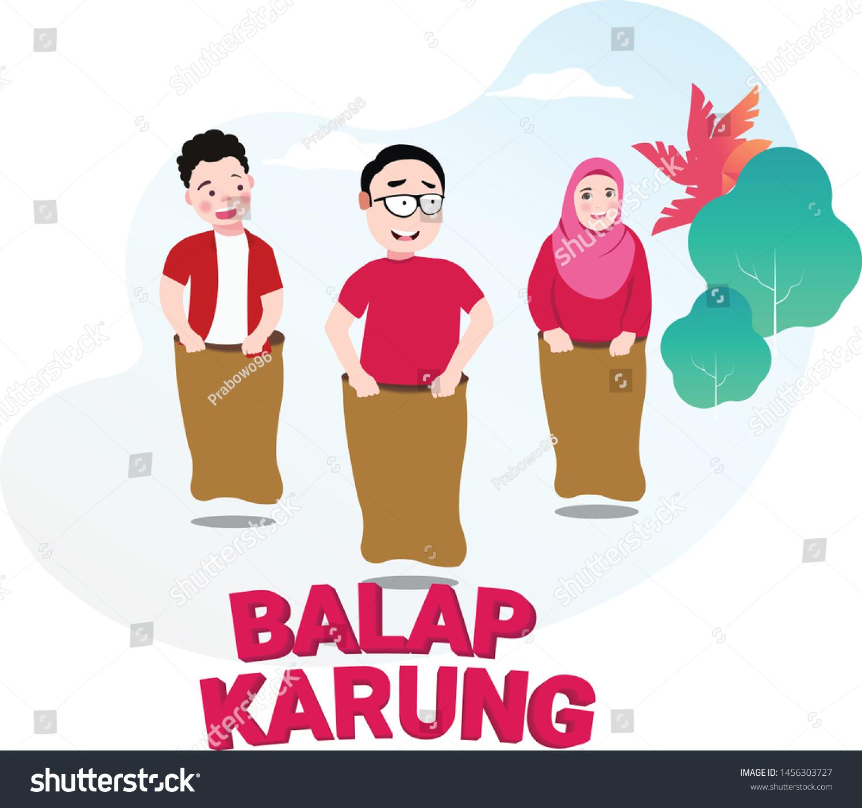 Lomba Balap Karung 17 Agustus Translate Stock Vector Royalty Free 1456303727