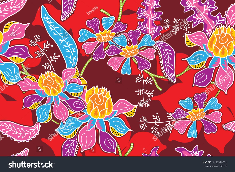 17+ Seamless Pattern Floral Illustration Batik Motif Stock Vector ... Fotografie