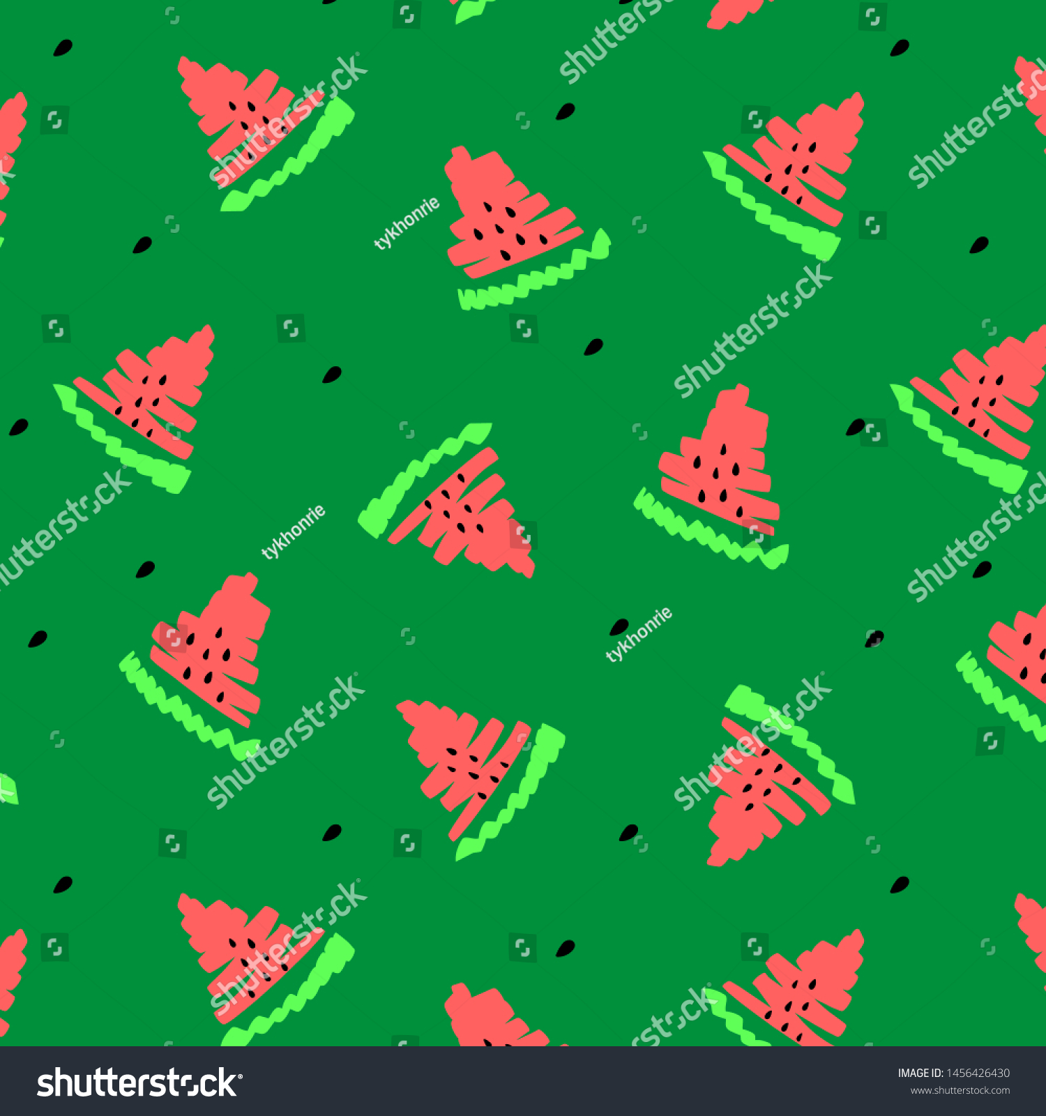 Red Watermelons Seamless pattern raster illustration green background, black seeds design. Hand drawn summer tropical sliced fruits. Good for kids print t shirt, poster banner, template wrapping paper