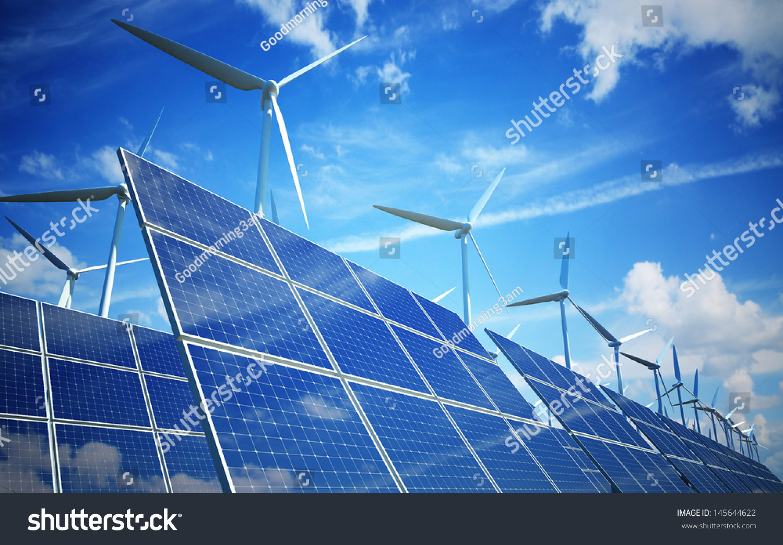 Wind turbines and solar panels. Green energy