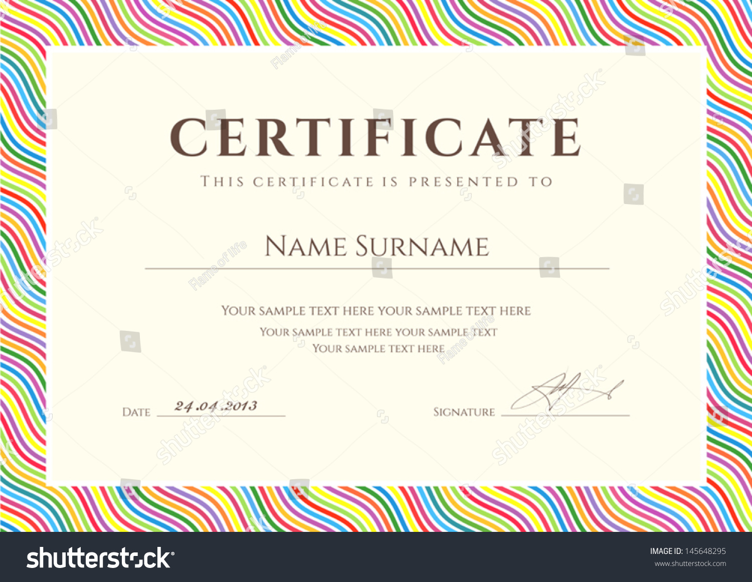 Royalty Free Certificate Of Completion Template Or 145648295