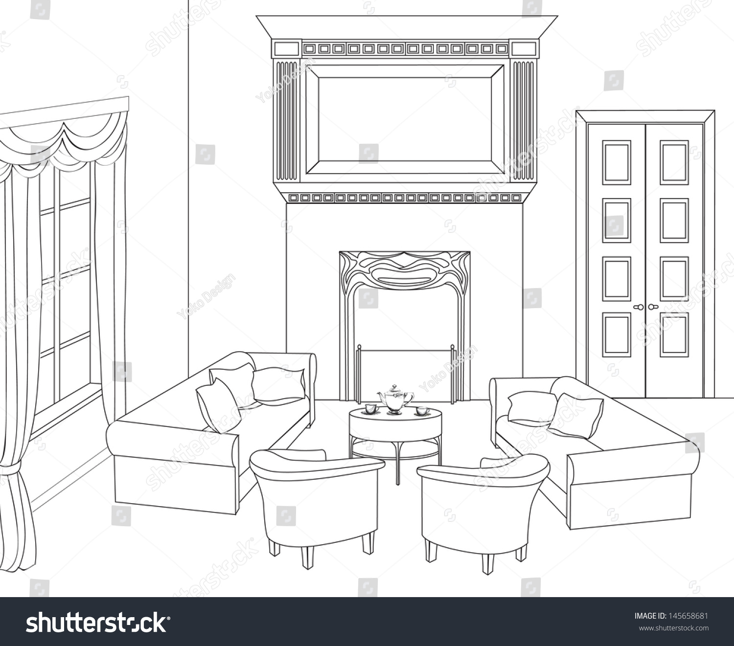 Drawingroom editable vector illustration outline sketch for Online drawing room