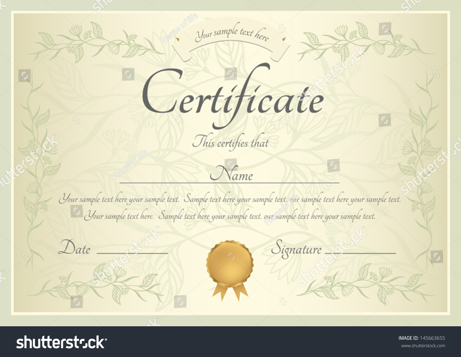Certificate Completion Template Sample Background Floral