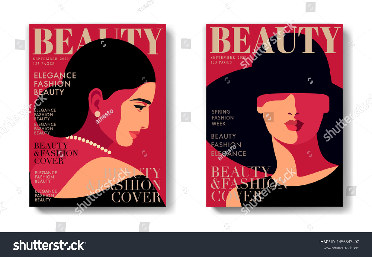 Two Variants Fashion Magazine Cover Designs Stock Vector Royalty Free 1456843490