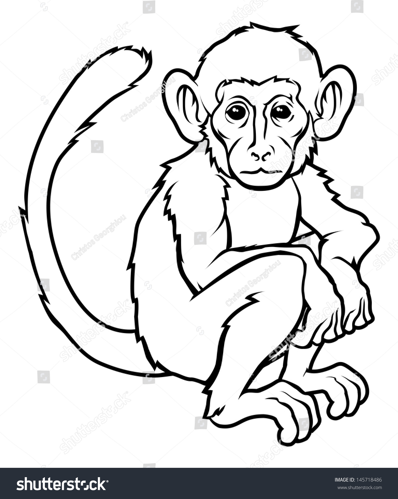 2f72d2881 An illustration of a stylised monkey perhaps a monkey tattoo.