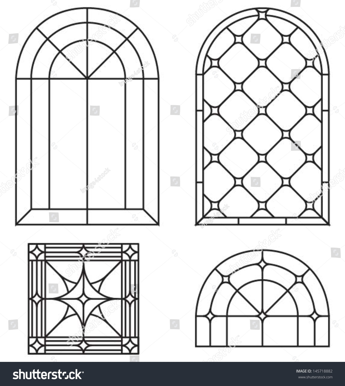 Arch border abstract seamless ornament set stock vector for Window design template