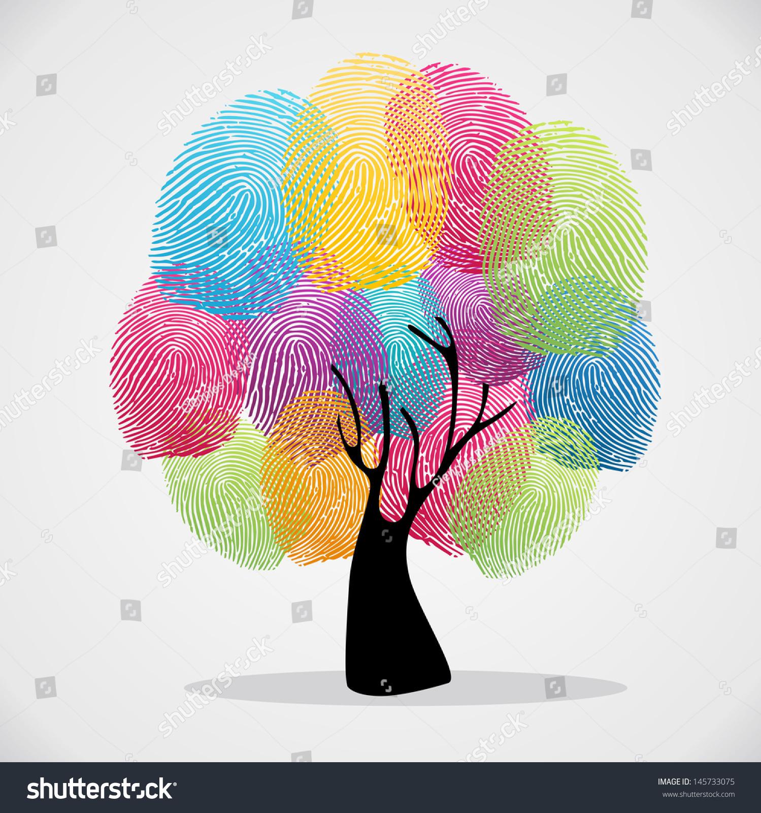 diversity color tree finger prints illustration stock