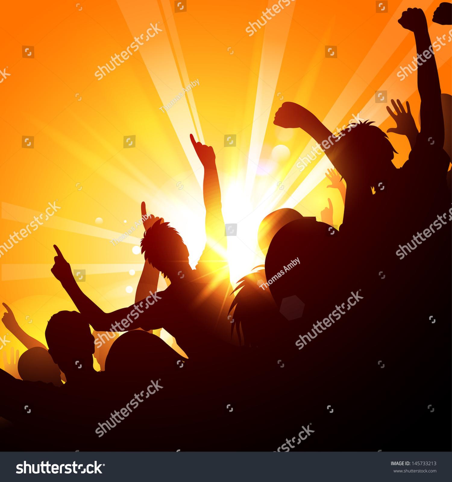 Crowds cheering concert